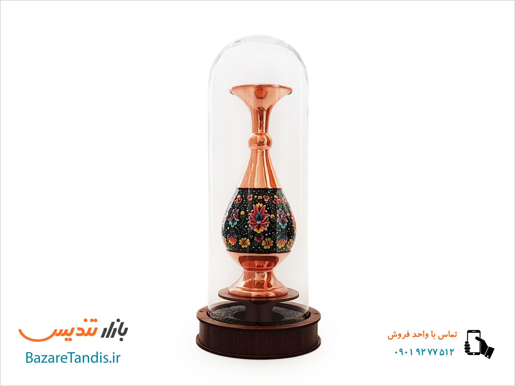 تندیس گلدان مس و پرداز با حباب شیشه ایی