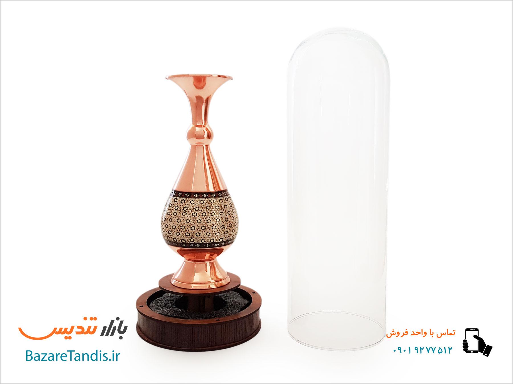 تندیس گلدان مس و خاتم با حباب شیشه ایی